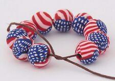 10 pieces, Artisan beads, 8 mm round, USA flag beads, DIY crafts, flag beads.