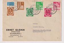 Bizone/Bauten, 74,80,85 MiF Posthorn 4,10,20, Hamburg 18.9.51