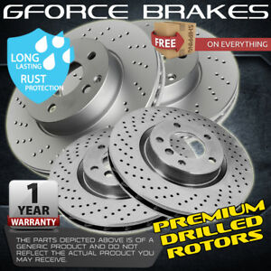 F+R Drilled Rotors for 2010-2015 Hyundai Genesis Coupe w/ 4 piston Brembo Brakes