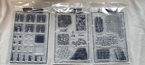 CLARITY CLEAR STAMP SET GRUNGY BACKGROUND & CHESS PIECES A5 STAMP Bundle