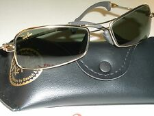 1980s B&L RAY BAN W2023 GOLD FINISH G15 UV RECTANGULAR ORBS WRAP SUNGLASSES NEW
