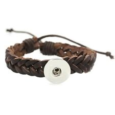 2017 Hot Genuine leather Bracelets Drill fit For Noosa Snaps Chunk Charm Button