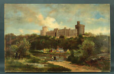 Antique 1890 Victorian British Oil Painting of Windsor Castle Signed Illegibly