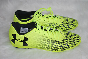 Under Armour Soccer Shoes Youth Size 4 Y Bright Yellow Black Logo Lace-up Unisex