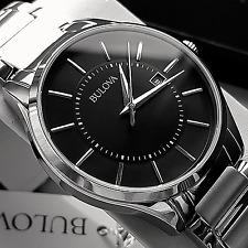 Bulova Reloj De Vestir Para Hombre De Acero Inoxidable Dial Negro Fecha 96B267 Nuevo