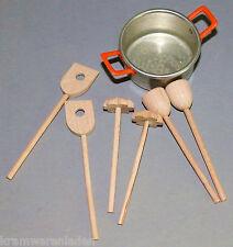 Zubehör für Puppenküche oder Puppenstube, 7 teilig, Topf + Küchengeschirr