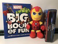 Marvel Bundle Hero's 6 DVD Box Set & Iron Man Plush Toy + Big Book Of Fun