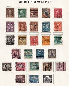 US STAMP #551-72  $2  Series Of 1922-25 used stamps on album page