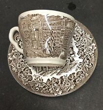 DICKENS SERIES Cup Saucers Brown English Ironstone Tableware SOLD EACH
