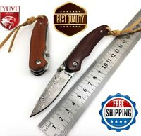 Handmade Folding Pocket Knife Damascus Red Wood Handle Tactical Survival Camping