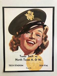 1943 TEXAS A&M AGGIES vs. TEXAS TECH RED RAIDERS 11x14 Football Program Poster