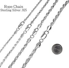 Sterling Silver Diamond Cut Rope Chain Necklace, 925 Italy All Widths and Length