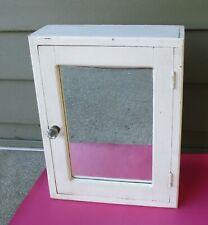 Vintage White Wooden Medicine Cabinet With Glass Knob 17 x 13 x 5