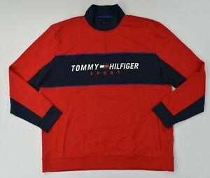NWT Men's Tommy Hilfiger Half 1/2 Zip Mock Neck Color Block Sweater Jacket
