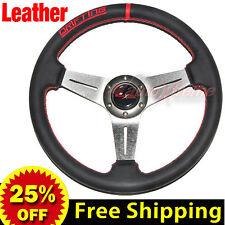 "350mm 14"" LEATHER Drift Racing Rally Steering Wheel RED Stitch Universal TITAN"