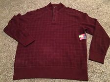 Roundtree And Yorke Men's Pull Over Sweater Knit Sz XL NWT Burgundy With Buttons
