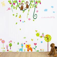 Pegatinas de pared Mural De Papel Arte Decoración Baby elepnant Monkey Jungle Kids