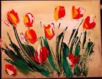TULIPS  Large Abstract Modern Original Oil Painting  MUSIC CANVAS N34T