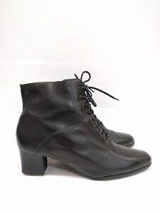 Sz 40 Vintage Ladies Black VANNINI Brazil Classic Lace up leather ankle boots