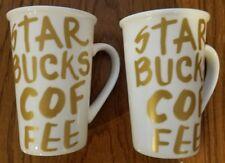set of two  Starbucks 2015 White w/ Gold Writing Coffee Mugs Cups, 12 oz