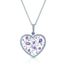 14k White Gold 1.61 TCW Natural Pink Sapphire And Diamond Heart Pendant Necklace