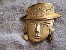 Vintage Belt Buckle with Lady's Face Wearing Hat & Earrings