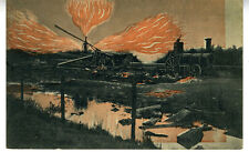 1910 German Postcard of Train Crash Die Entzundung Von Erdgas in Neuengamme