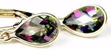 • E021, 8x5mm Tear-Drop Mystic Fire Topaz, 14k Yellow Gold Leverback Earrings