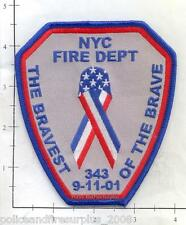 New York - New York City Bravest of the Brave 9-11 WTC 343 Fire Dept Patch NY