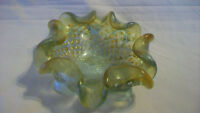 VINTAGE HAND BLOWN COLORED BUBBLE GLASS CANDY DISH WITH GOLD ACCENTS