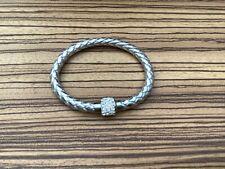 Silver twisted rope bangle bracelet shambala type crystal bead magnetic clasp