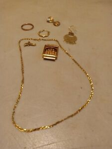 Lot of SOLID 14K GOLD JEWELRY SCRAP 15 GRAMS 1 DAY AUCTION WATCH CASE EARRINGS