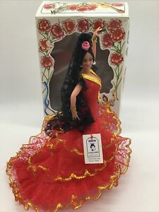 "Vintage 1960's Marin Chiclana 8"" Spanish Flamenco Dancer Doll w/ Red Dress Box"