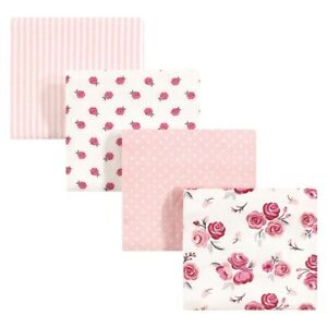 Hudson Baby Cotton Flannel Receiving Blankets, Rose, One Size