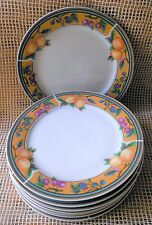 "Royal Norfolk Set 9 Dinner Plates 10"" Microwave Safe Berries & Fruits Pattern"