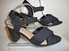 Black Faux Suede Strappy Shoes/ Sandals Size UK 10 EEE Wide Fit BNWT From Evans
