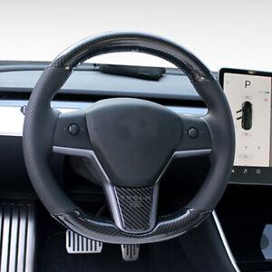 Carbon fiber Black leather DIY Steering Wheel Cover for Tesla Model 3