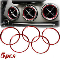 5Pcs Red Air Vent Outlet Ring Cover Trim For Benz A/B/CLA/GLA Class 180 200 220