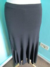 MARKS & SPENCER BLACK CALF LENGTH DIPPED HEM SIZE 10 SKIRT BLACK