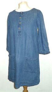 FAT FACE - Blue Cotton Denim Knee Length/ 3/4 Sleeve TUNIC DRESS UK12