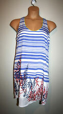 NEW Womens CHARLIE JADE Blue/White Sleeveless Printed Striped Dress Small S NWT