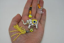 Single Lucky Elephant Trunk Up Yellow Evil Eye Hanger Charm Feng Shui