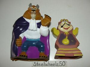 Vintage Pizza Hut Beauty & Beast Beast & Cogsworth Hand Puppet Toy Lot 1992 RARE