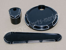 Black Beveled Fuel Tank Door Dash Track Insert Ignition Cap For Harley Touring