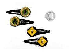 Bigfoot Search Team Sasquatch Crossing Xing Sign Set of 4 Barrettes