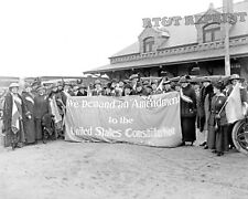 Photograph of Woman Suffragists at a Train Depot Colorado Springs Year 1916 8x10