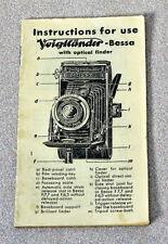 VINTAGE INSTRUCTION MANUAL FOR VOIGTLANDER-BESSA WITH OPTICAL FINDER