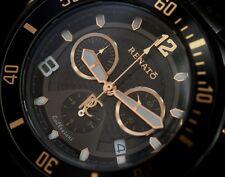 Renato Men's Beast Diver Swiss Chronograph Black IP & Rose Gold Tone Watch NEW