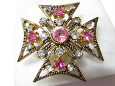PINK & CLEAR AB RHINESTONE SPARKLY MALTESE CROSS BROOCH PIN PRETTY TEXTURED