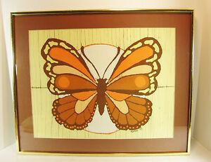 Vintage Handmade Batik Butterfly ARTIST SIGNED Framed Art 1979 Karen Johnson